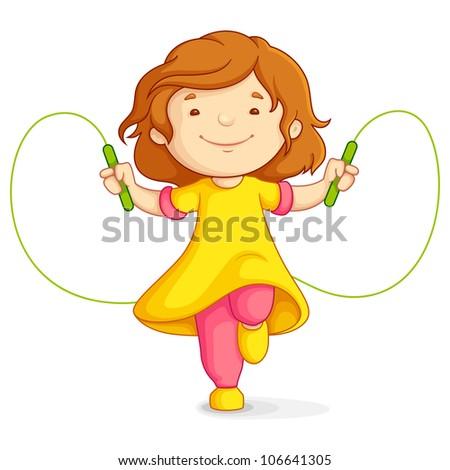 vector illustration of baby girl doing skipping against white background - stock vector