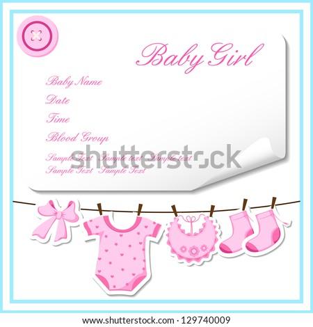 vector illustration of baby girl dress hanging - stock vector