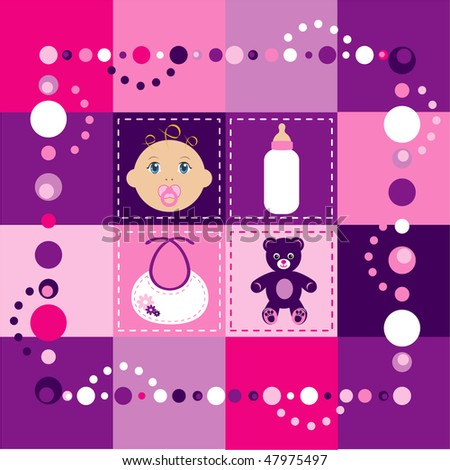 Vector Illustration of baby girl quilt 2. Patchwork or sewing, background. - stock vector