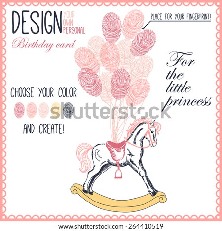 Vector illustration of  baby hobbyhorse for little girl with balloons. Variant of design of your birthday card - stock vector