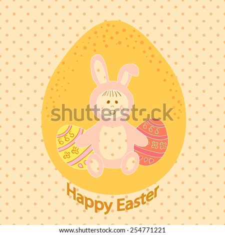 Vector illustration of baby  in a rabbits suit. Easter card.  - stock vector