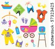 Vector illustration of baby product set. - stock vector