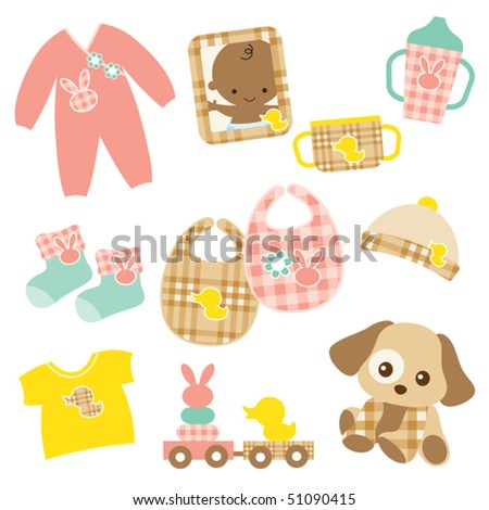 Vector illustration of baby products. Pink and brown plaid patterns are included in swatch. - stock vector