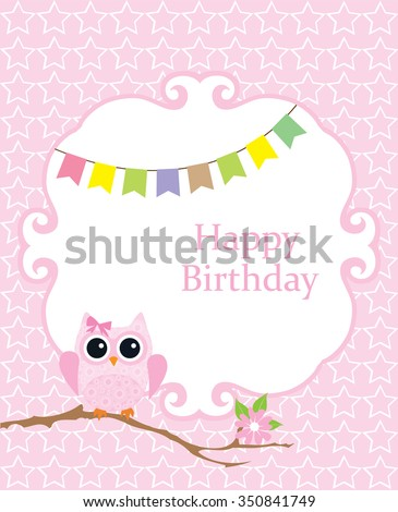 Vector Illustration Of Baby Shower Or Invitation Card With Owl