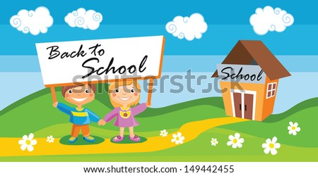 Vector illustration of back to school template with kids  - stock vector