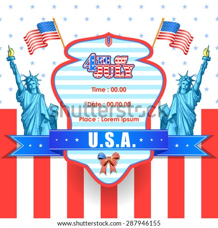 vector illustration of background for Fourth of July American Independence Day - stock vector