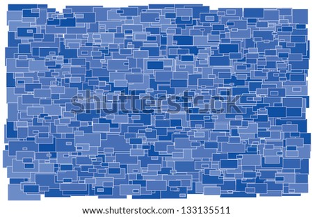 Vector illustration of background made of various size and shade blue rectangles - stock vector