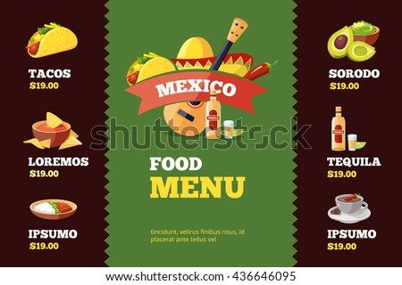 vector illustration of background restaurant menu template with traditional Mexican food. Tacos, burrito, tequila, guacamole, salsa - stock vector