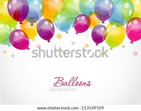Vector illustration of Background with colorful balloons - stock vector