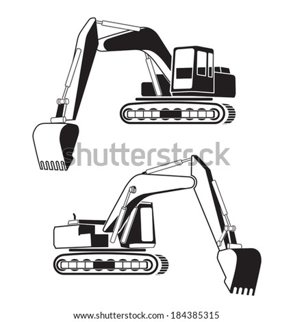 Vector illustration of backhoe icon - stock vector