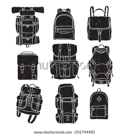 Vector illustration of backpack vintage labels. - stock vector