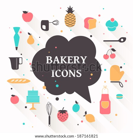 Vector Illustration of Bakery Icons - stock vector