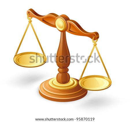 Vector illustration of balance scales on white background - stock vector