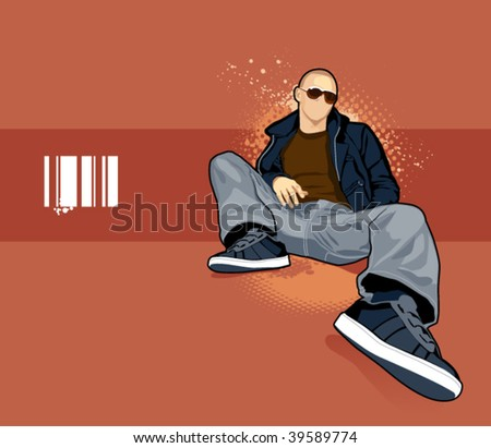 Vector illustration of bald man on abstract background. - stock vector