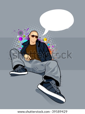 Vector illustration of bald man on abstract graffiti background. - stock vector