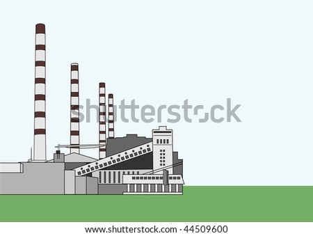 Vector illustration of Baltic power plant with copy space for your text - stock vector
