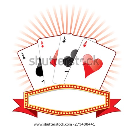 Vector illustration of banner with four aces. - stock vector