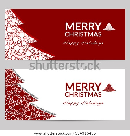 Vector illustration of banners with Christmas. Christmas tree with balls. Red and white. - stock vector