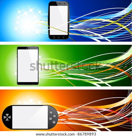 Vector illustration of banners with communicator concepts. - stock vector