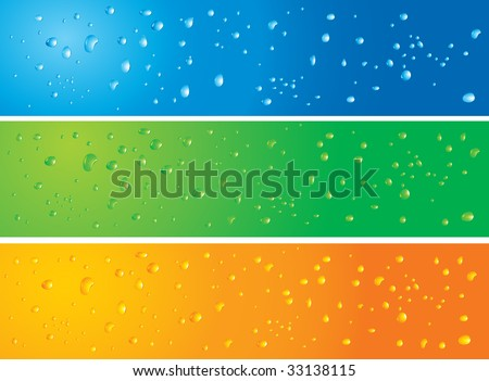 Vector illustration of 3 banners with water drops in different colors with slight modifications on each banners. Radial and Linear gradients used. - stock vector