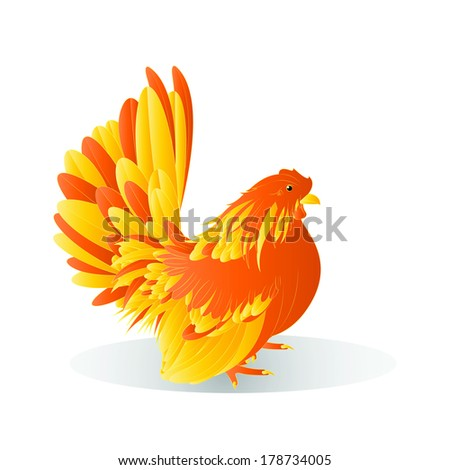 Vector illustration of Bantam yellow and orange on a white background,female - stock vector