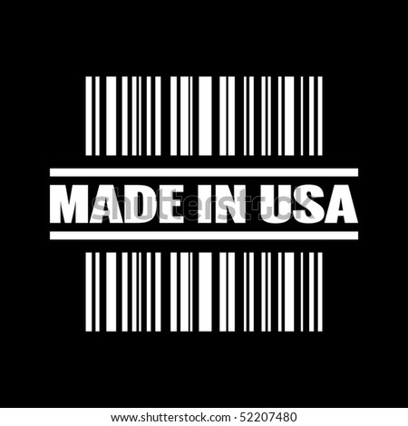 """Vector illustration of barcode icon marked """"Made in Usa"""" - stock vector"""