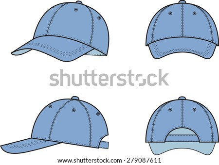 Vector illustration of baseball cap from different views - stock vector
