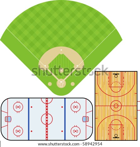 Vector illustration of Baseball field, Basketball court, and Ice Hockey rink. Accurately proportioned. - stock vector