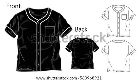 Vector Illustration Baseball Shirt Front Back Stock Vector 563968921 ...
