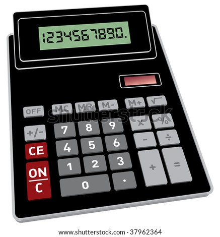 Vector illustration of basic black calculator with 3D perspective - stock vector