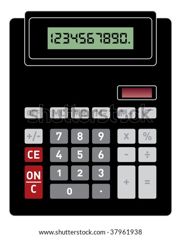 Vector illustration of basic black calculator with front view - stock vector