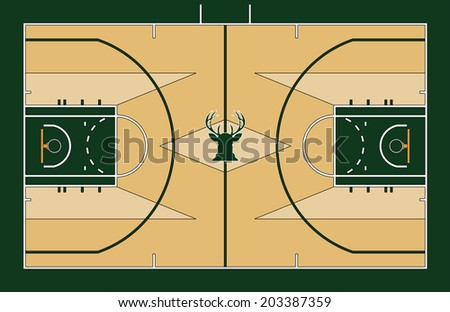 Vector illustration of Basketball court top view - stock vector