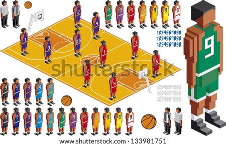 Vector Illustration of Basketball Tactical Kit, elements are in layers for easy editing - stock vector