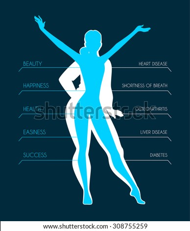 Vector illustration of Be fit, woman silhouette images - stock vector
