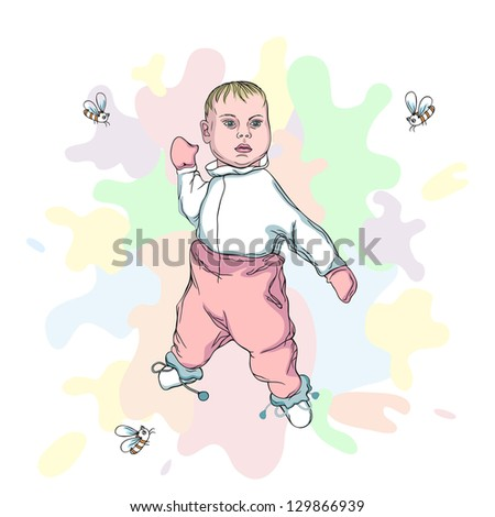 Vector Illustration of beautiful Baby with flying bees