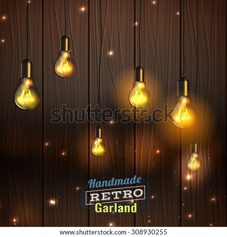 Vector Illustration Of Beautiful Background With Handmade Lighting Garland  For Patio, Wedding, Party,