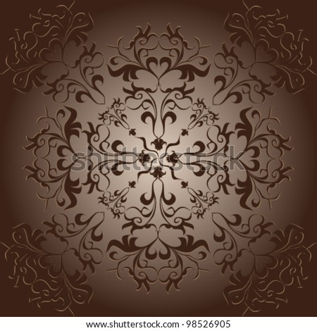 Vector illustration of beautiful background with stylized brown acanthus leaves