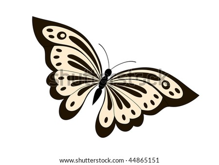 Vector illustration of beautiful black and yellow butterfly - stock vector
