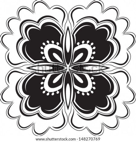 Vector illustration of beautiful black floral pattern on white background - stock vector
