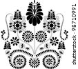 Vector illustration of beautiful black folk floral background - stock vector