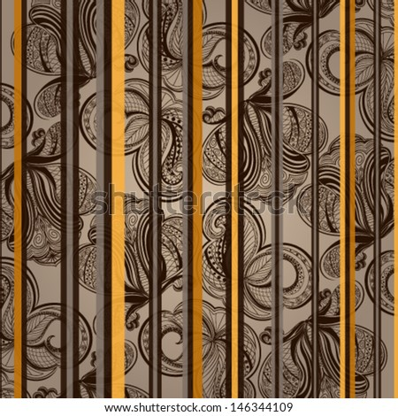Vector illustration of beautiful brown seamless floral wallpaper - stock vector