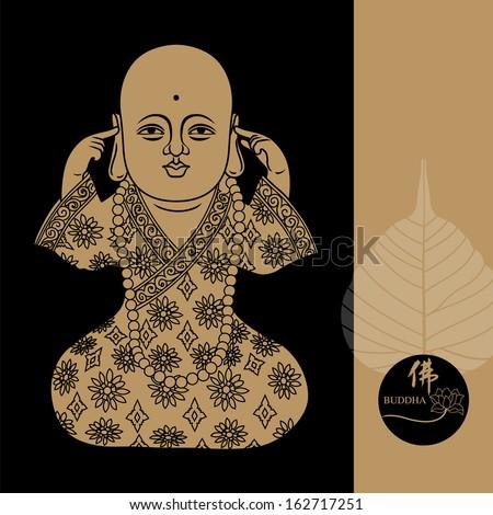 Vector illustration of beautiful buddha figure. Chinese Calligraphy Fo, Translation: Buddha/ Buddhism - stock vector