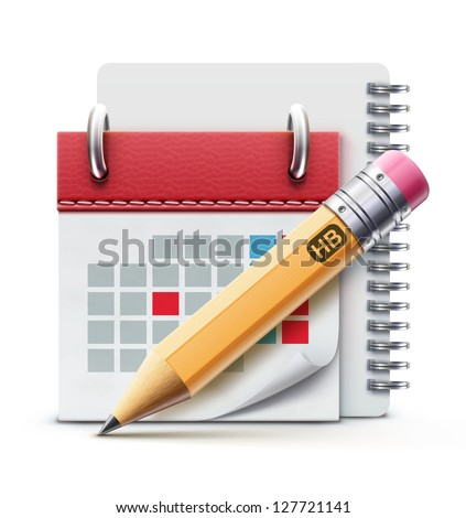 Vector illustration of beautiful calendar icon, spiral notebook and detailed pencil - stock vector