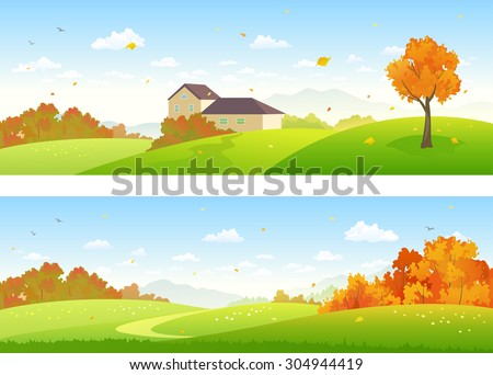 Vector illustration of beautiful fall panoramic landscapes with a house and woods - stock vector