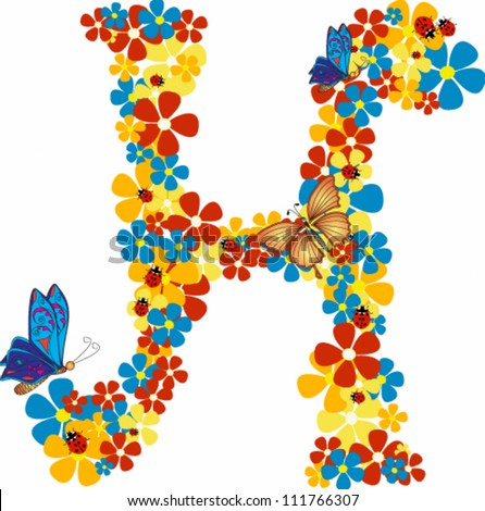 Vector illustration beautiful floral letter h stock vector vector illustration of beautiful floral letter h thecheapjerseys Choice Image