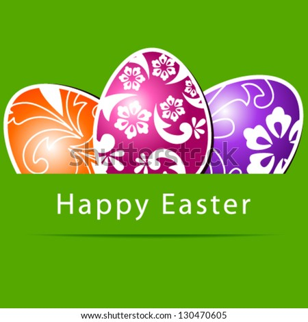 Vector illustration of beautiful floral paper Easter eggs on green background - stock vector