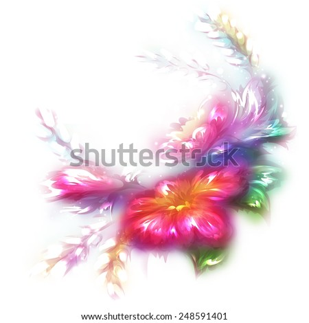 Vector illustration of beautiful flower on white background. - stock vector