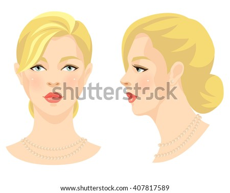 Vector illustration of beautiful girl with blonde hair and blue eyes isolated on white background. Face in front. Face in profile. Various turn head. - stock vector