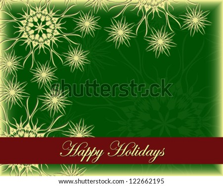 Vector illustration of beautiful green Christmas card - stock vector