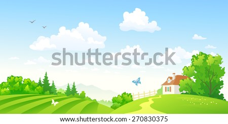 Vector illustration of beautiful green hilly countryside - stock vector